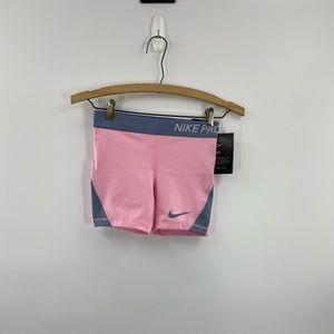 Pink and Grey Nike PRO Training Shorts Size M
